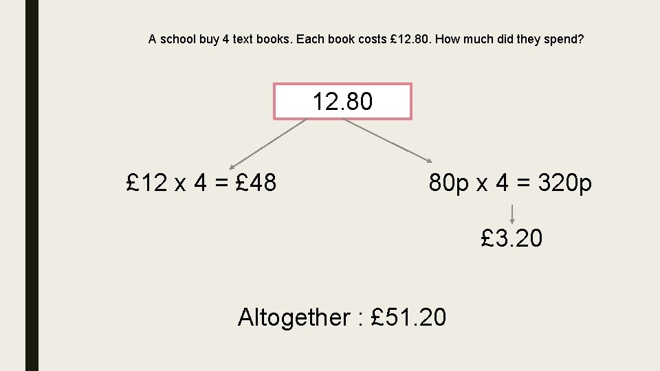 A school buy 4 text books. Each book costs £ 12. 80. How much