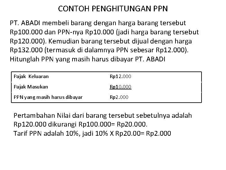 CONTOH PENGHITUNGAN PPN PT. ABADI membeli barang dengan harga barang tersebut Rp 100. 000