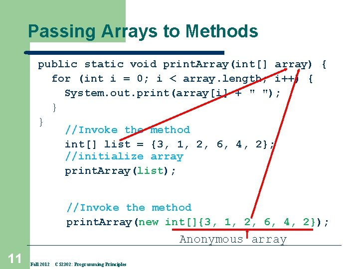 Passing Arrays to Methods public static void print. Array(int[] array) { for (int i