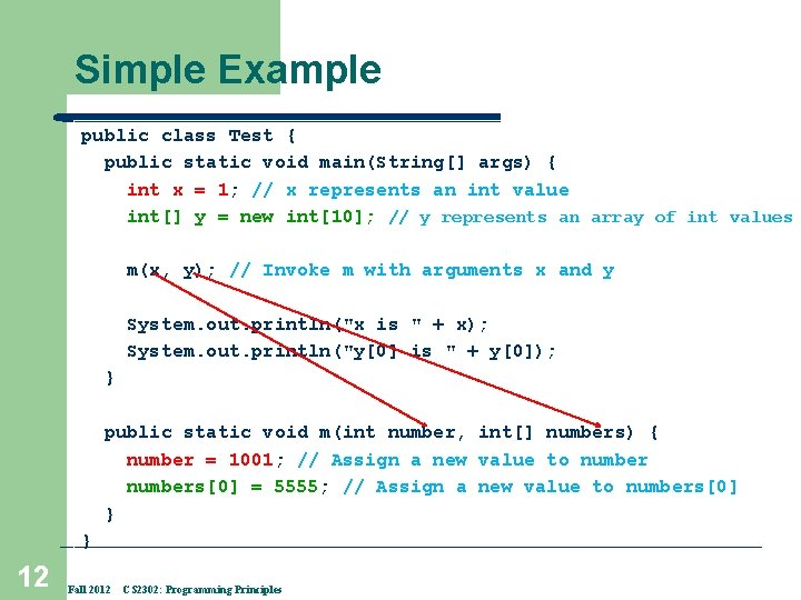 Simple Example public class Test { public static void main(String[] args) { int x