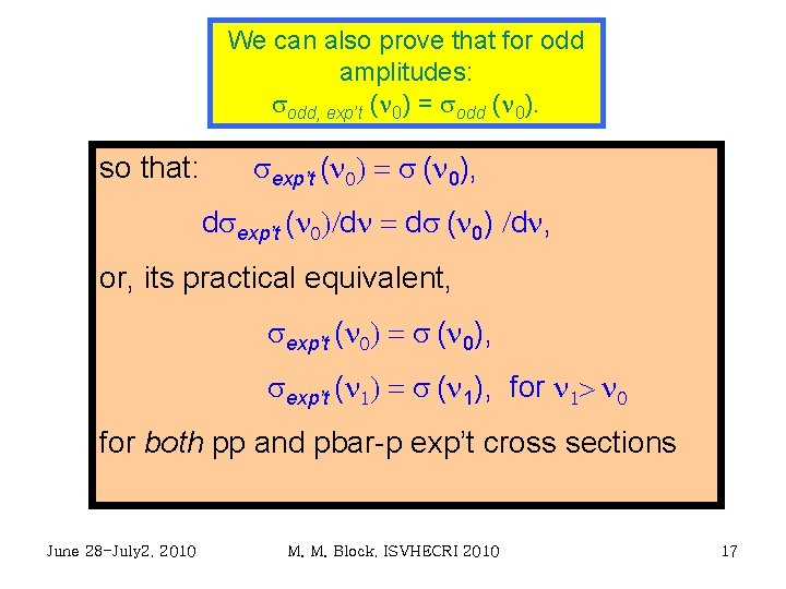 We can also prove that for odd amplitudes: sodd, exp't (n 0) = sodd