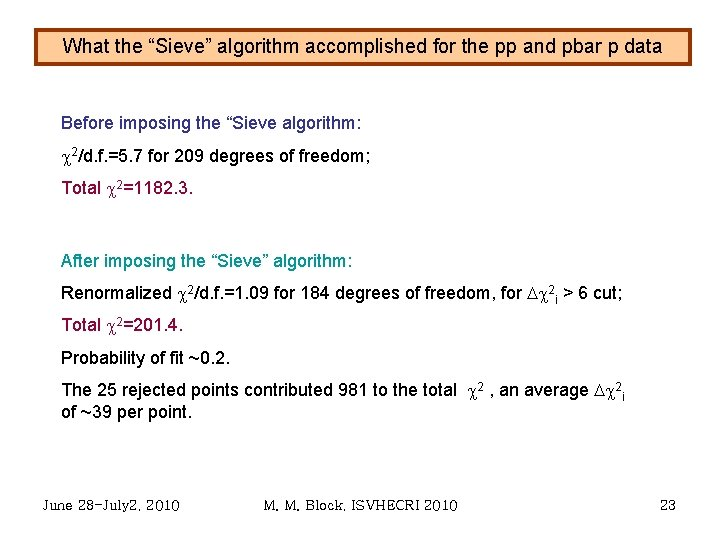 """What the """"Sieve"""" algorithm accomplished for the pp and pbar p data Before imposing"""