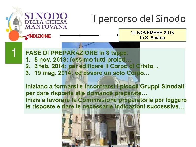 Il percorso del Sinodo INDIZIONE 1 24 NOVEMBRE 2013 In S. Andrea FASE DI