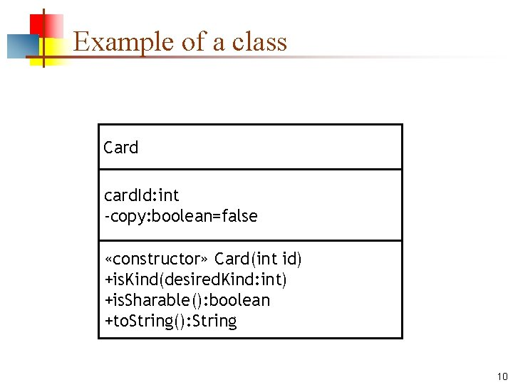 Example of a class Card card. Id: int -copy: boolean=false «constructor» Card(int id) +is.