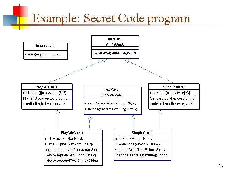 Example: Secret Code program 12