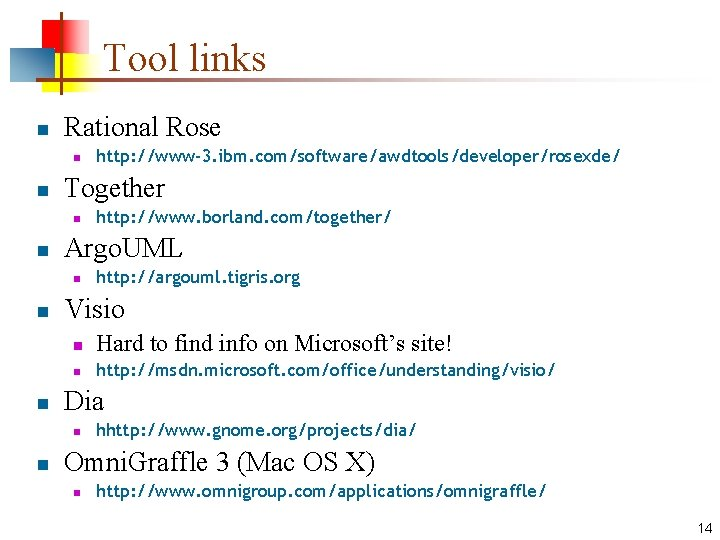 Tool links n Rational Rose n n Together n n n http: //argouml. tigris.