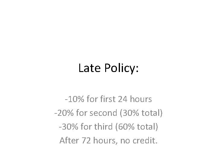 Late Policy: -10% for first 24 hours -20% for second (30% total) -30% for