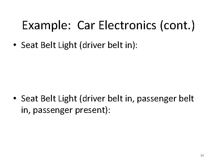 Example: Car Electronics (cont. ) • Seat Belt Light (driver belt in): • Seat
