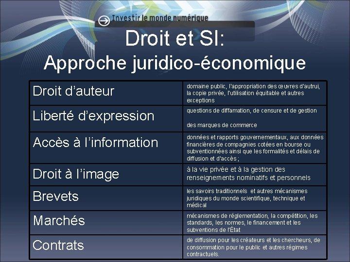 Droit et SI: Approche juridico-économique Droit d'auteur domaine public, l'appropriation des œuvres d'autrui, la