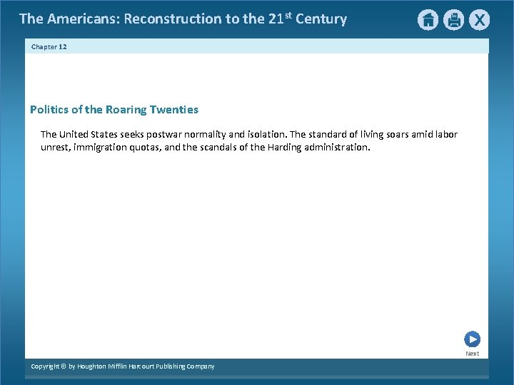 The Americans: Reconstruction to the 21 st Century Chapter 12 Politics of the Roaring