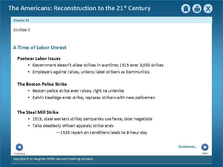 The Americans: Reconstruction to the 21 st Century Chapter 12 Section-1 A Time of