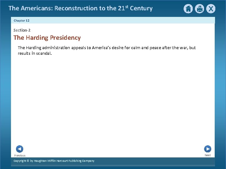 The Americans: Reconstruction to the 21 st Century Chapter 12 Section-2 The Harding Presidency