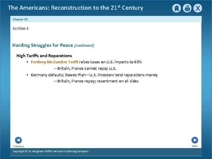 The Americans: Reconstruction to the 21 st Century Chapter 12 Section-2 Harding Struggles for