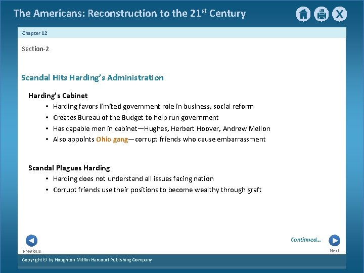 The Americans: Reconstruction to the 21 st Century Chapter 12 Section-2 Scandal Hits Harding's