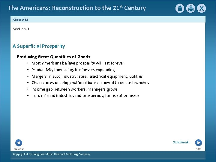 The Americans: Reconstruction to the 21 st Century Chapter 12 Section-3 A Superficial Prosperity