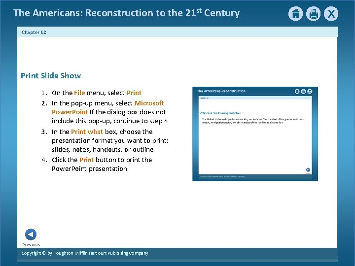The Americans: Reconstruction to the 21 st Century Chapter 12 Print Slide Show 1.