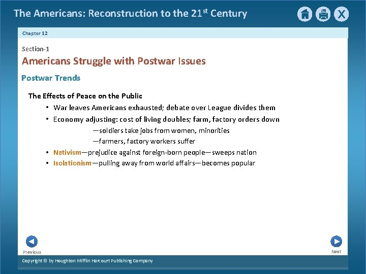 The Americans: Reconstruction to the 21 st Century Chapter 12 Section-1 Americans Struggle with