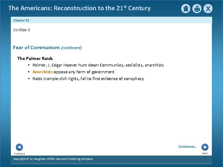 The Americans: Reconstruction to the 21 st Century Chapter 12 Section-1 Fear of Communism