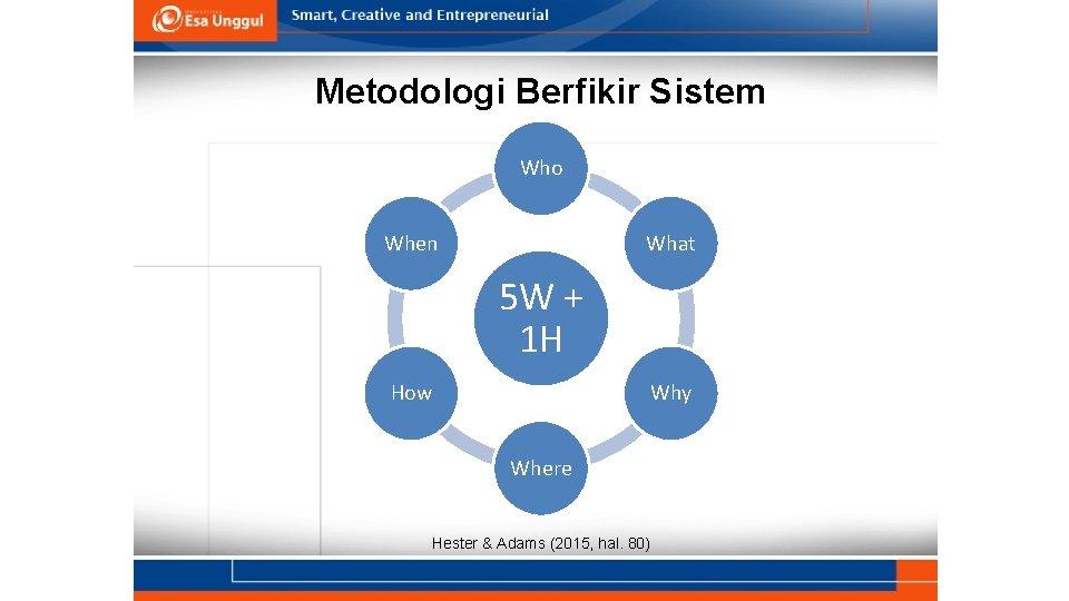 Metodologi Berfikir Sistem Who When What 5 W + 1 H How Why Where