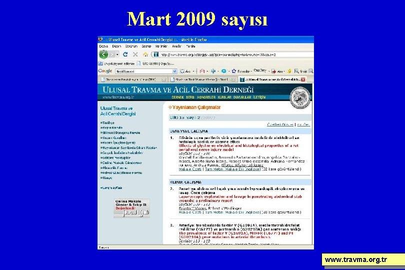 Mart 2009 sayısı www. travma. org. tr