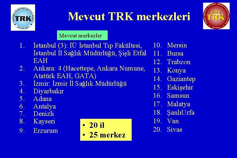 Mevcut TRK merkezleri Mevcut merkezler 1. 2. 3. 4. 5. 6. 7. 8. 9.