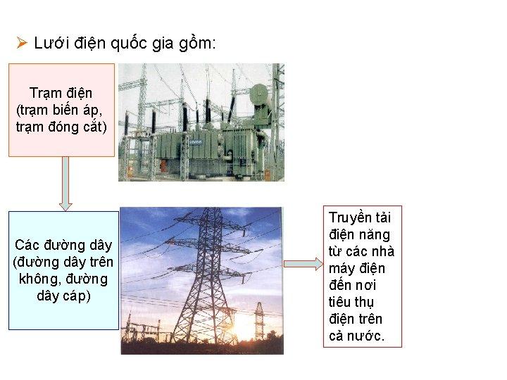 Ø Lưới điện quốc gia gồm: Trạm điện (trạm biến áp, trạm đóng cắt)
