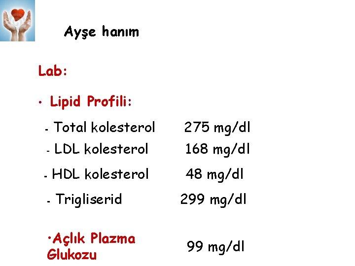 Ayşe hanım Lab: Lipid Profili: • - Total kolesterol 275 mg/dl - LDL kolesterol