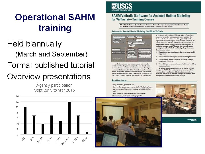 Operational SAHM training Held biannually (March and September) Formal published tutorial Overview presentations Agency