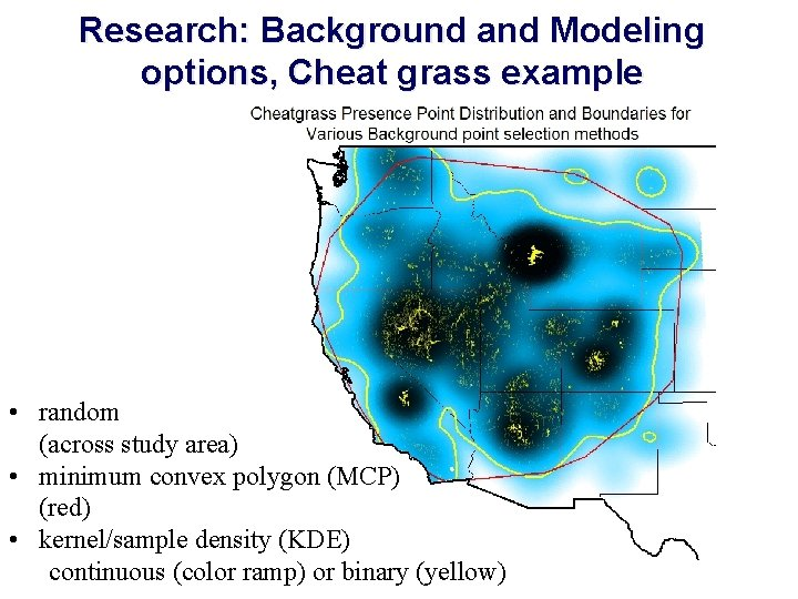 Research: Background and Modeling options, Cheat grass example • random (across study area) •