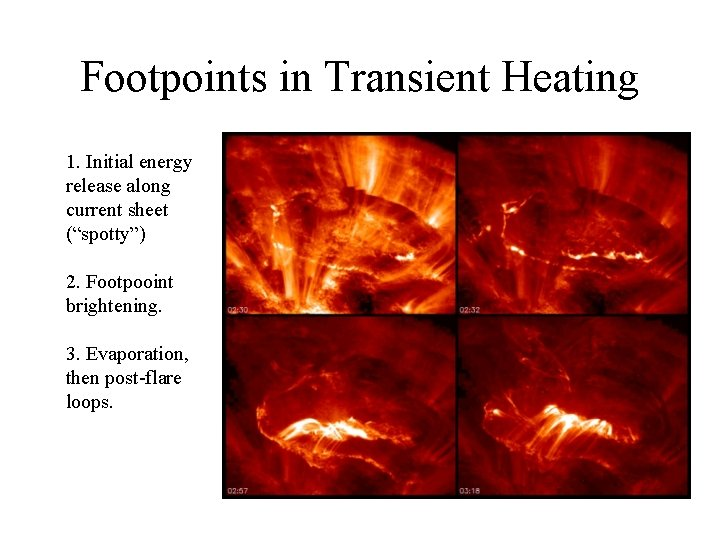 """Footpoints in Transient Heating 1. Initial energy release along current sheet (""""spotty"""") 2. Footpooint"""