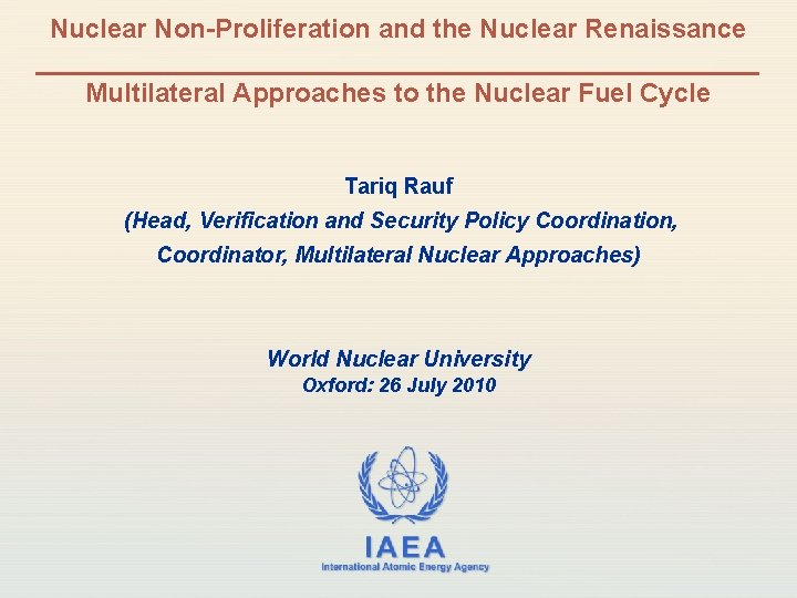 Nuclear Non-Proliferation and the Nuclear Renaissance _________________________ Multilateral Approaches to the Nuclear Fuel Cycle