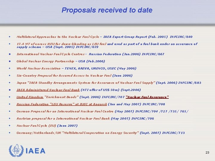 Proposals received to date • Multilateral Approaches to the Nuclear Fuel Cycle – IAEA