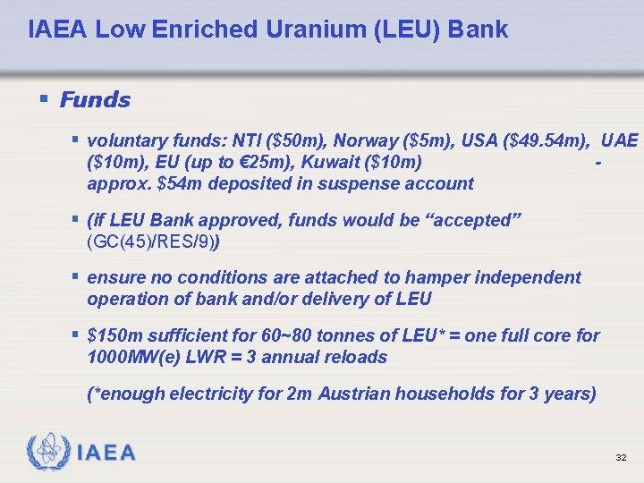 IAEA Low Enriched Uranium (LEU) Bank § Funds § voluntary funds: NTI ($50 m),
