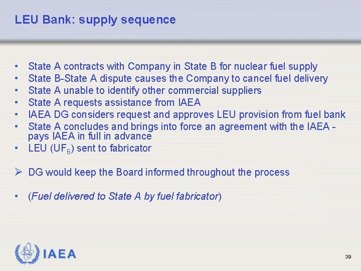 LEU Bank: supply sequence • • • State A contracts with Company in State