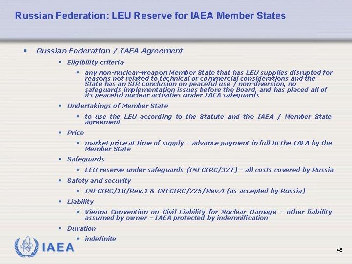 Russian Federation: LEU Reserve for IAEA Member States § Russian Federation / IAEA Agreement