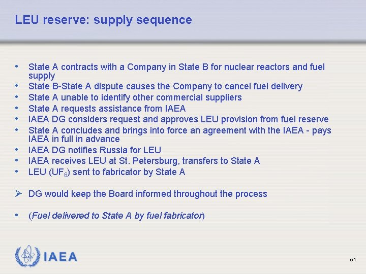 LEU reserve: supply sequence • State A contracts with a Company in State B