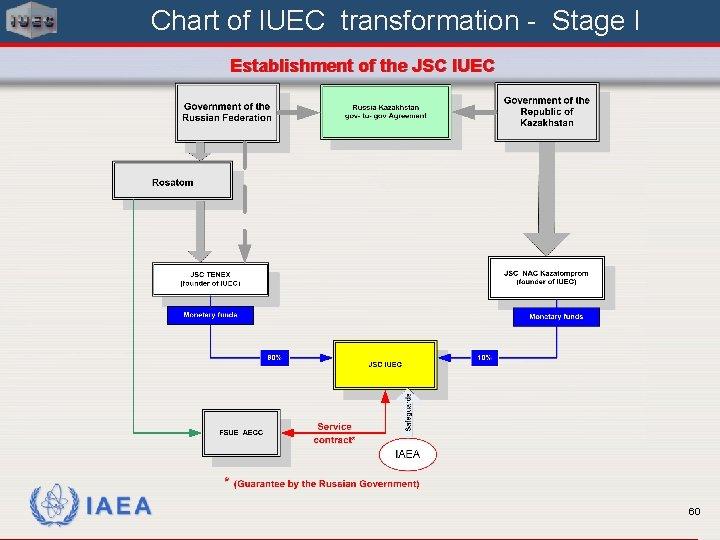 Chart of IUEC transformation - Stage I Establishment of the JSC IUEC IAEA 60