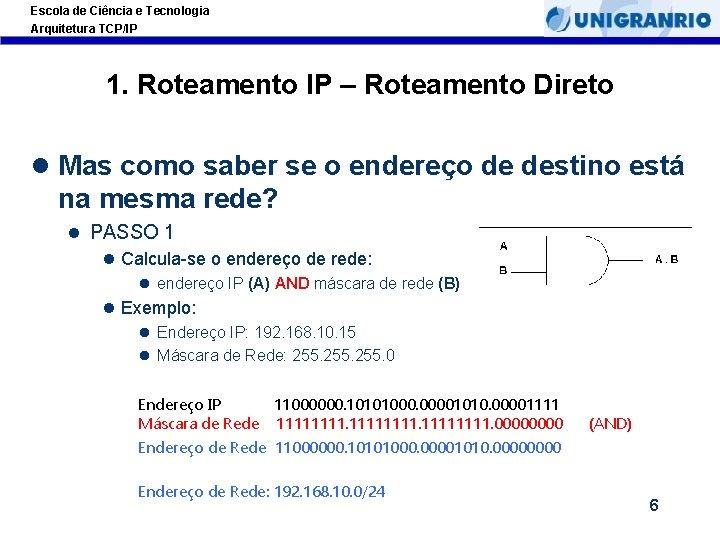 Escola de Ciência e Tecnologia Arquitetura TCP/IP 1. Roteamento IP – Roteamento Direto l