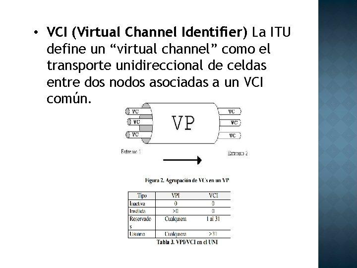 "• VCI (Virtual Channel Identifier) La ITU define un ""virtual channel"" como el"