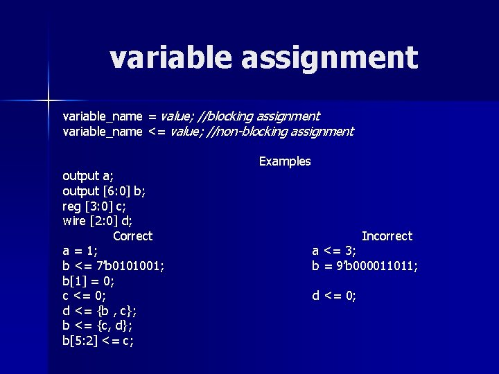 variable assignment variable_name = value; //blocking assignment variable_name <= value; //non-blocking assignment output a;