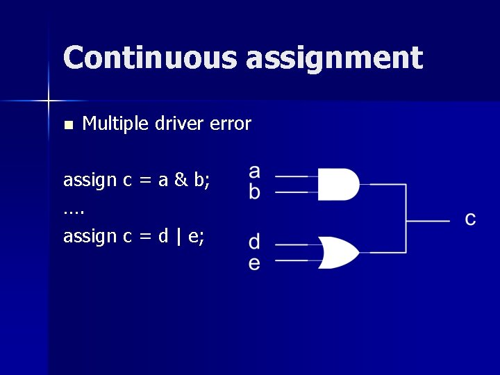 Continuous assignment n Multiple driver error assign c = a & b; …. assign