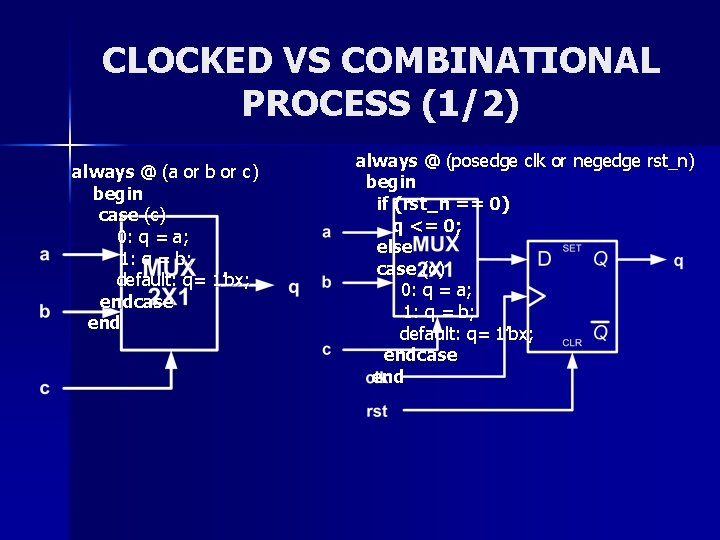 CLOCKED VS COMBINATIONAL PROCESS (1/2) always @ (a or b or c) begin case
