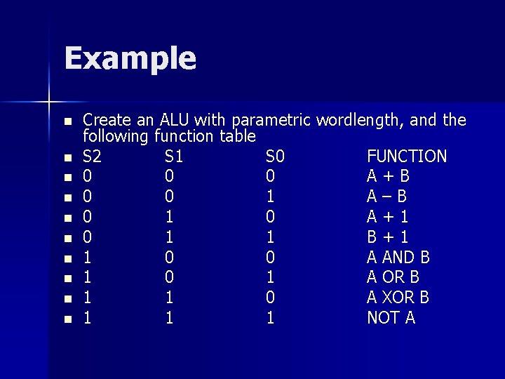 Example n n n n n Create an ALU with parametric wordlength, and the