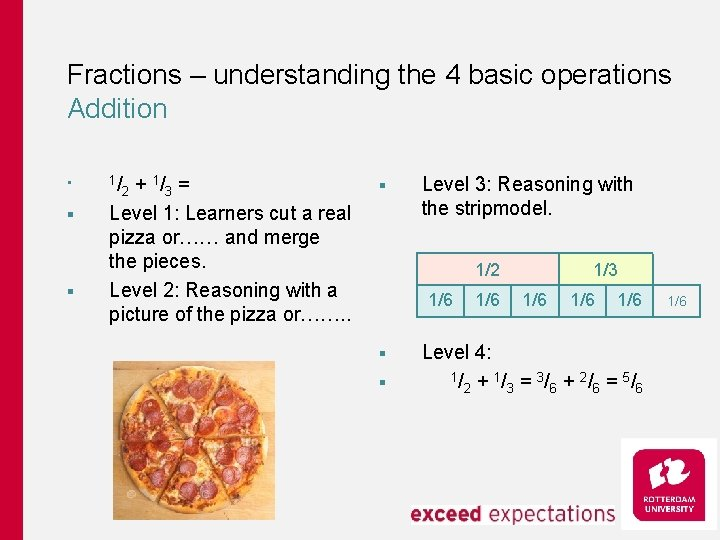 Fractions – understanding the 4 basic operations Addition § § § 1/ + 1