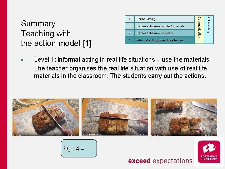 3 Representation – model/schematic 2 Representation – concrete 1 Informal acting in real life