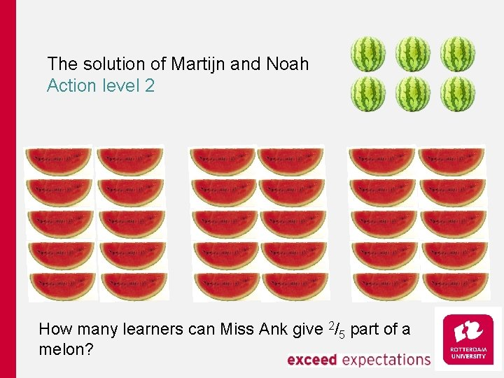 The solution of Martijn and Noah Action level 2 How many learners can Miss
