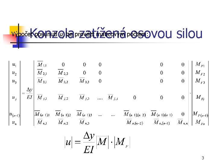 Konzola zatížená osovou silou Výpočet posunutí uj lze provézt maticovým počtem: 3