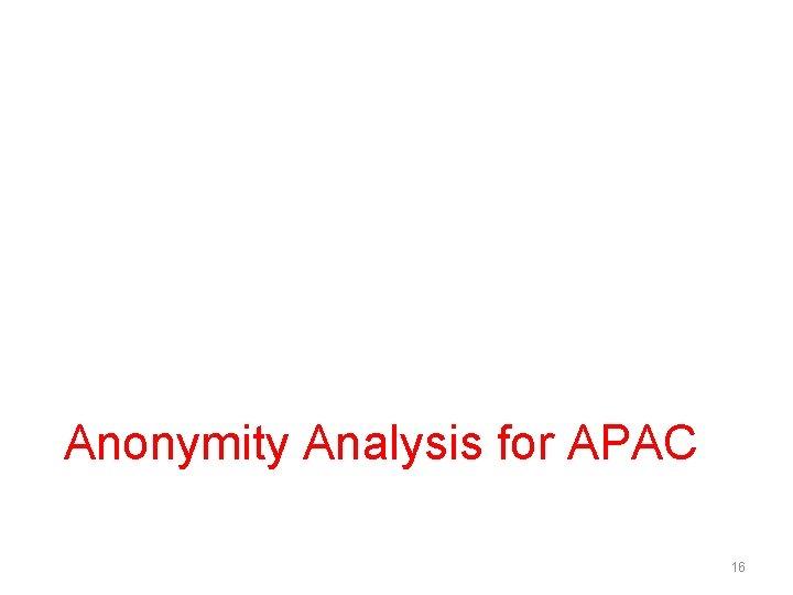 Anonymity Analysis for APAC 16