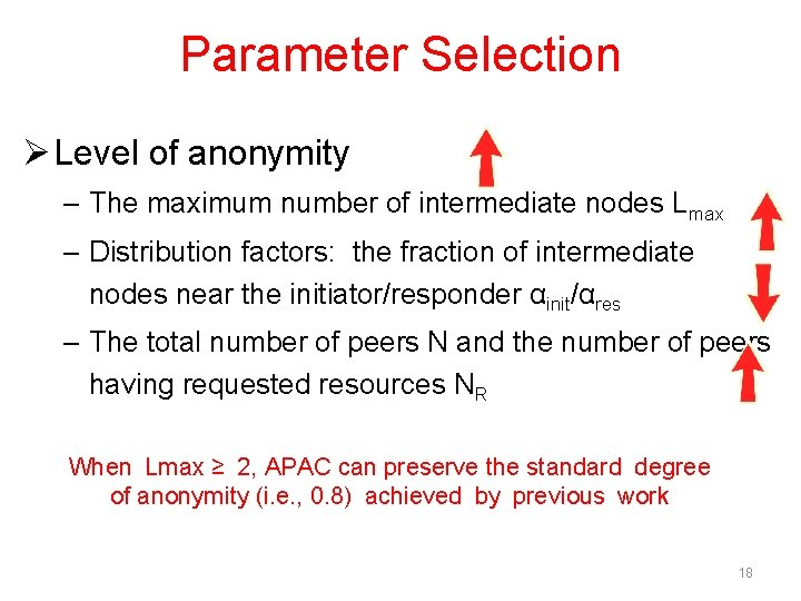 Parameter Selection Ø Level of anonymity – The maximum number of intermediate nodes Lmax