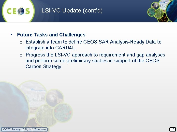 LSI-VC Update (cont'd) • Future Tasks and Challenges o Establish a team to define